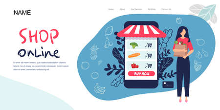 Landing page, woman holding packages with foods. Isolated character. flat style. Vector illustration, concept healthy food, vegetables fruits, for healthy lifestyle. for web banner, infographics Illusztráció