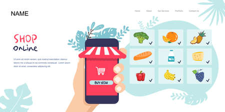 Landing page, hand holds phone. Shop, supermarket online. Selection of products. Food delivery. flat style. Vector illustration, healthy food, vegetables fruits. for web banner, webstore,infographics