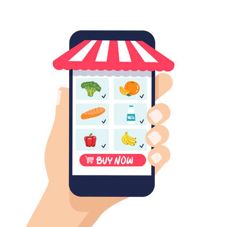 hand holds phone. Shop, supermarket online. Selection of products. Food delivery. flat style. Vector illustration, healthy food, vegetables fruits. for web banner, web store infographics