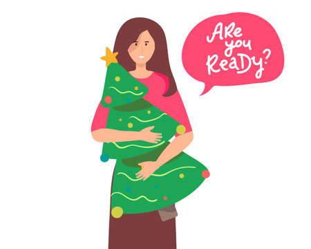 woman holding a Christmas tree. Purchases. Happy Holidays Concept. Christmas Tree with a star and other decorations. vector flat