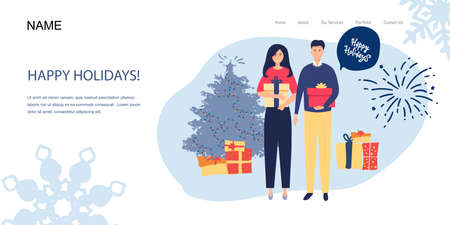 Landing page Man gives a woman a gift for Christmas. happy New Year Vector illustration in cartoon style. Illusztráció