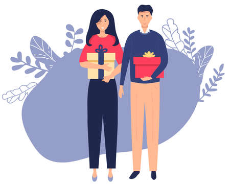 Happy young couple woman and man holding the xmas gifts. Isolated on white background. Christmas Holiday vector illustration flat style for greeting card, poster, banner. Illusztráció
