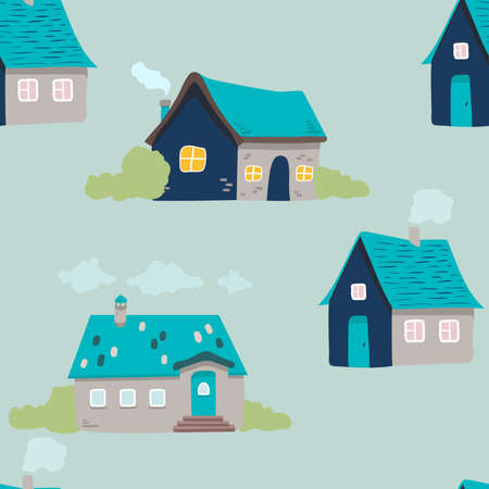 hand drawn doodle house background. Vector seamless pattern. cute houses on blue. illustration. Textured background for poster, card textile, wallpaper template