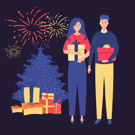 Man gives a woman a gift for Christmas. happy New Year Vector illustration in cartoon style.