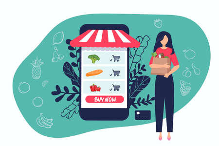 Online shopping concept banner with characters. woman with foods Can use for web banner, infographics, hero images. Flat vector illustration isolated on white background. Illusztráció