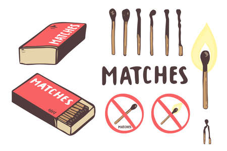 Safety match ignite burn icons set. Hand drawing. Cartoon illustration of doodle Safety match vector icon for web isolated on white background