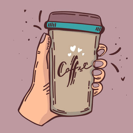 coffee break crafted illustration with handwritten script and human hand holds a cup of hot coffee, vector sketch