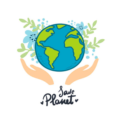 hands with earth holding the globe, flat vector sticker, poster, etc. Save the Planet. earth with flowers on white, hand drawing