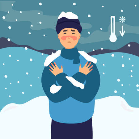 Man suffering from frostbite. Male with frozen hands in winter standing outside, in the snow. flat design. Healthcare concept.