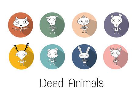 skeleton cartoon: Animals Skeleton Cartoon Set Illustration