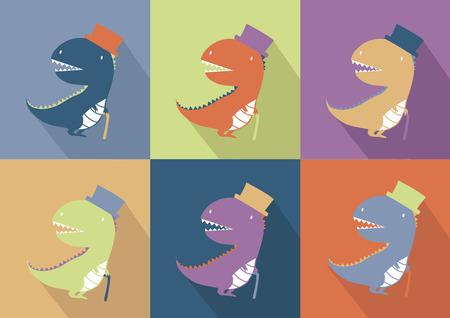 Cute dinosaur monster cartoon Vector