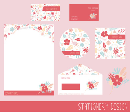 stationary: Beautiful floral stationery design set