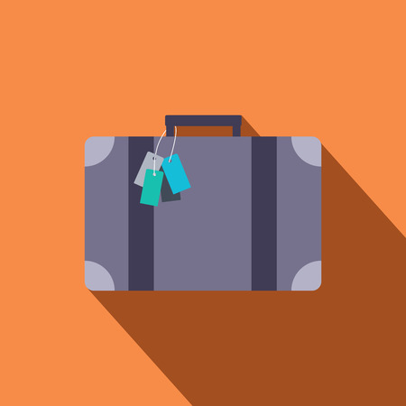 suitcase: Vintage Luggage vector icon in flat design with long shadows