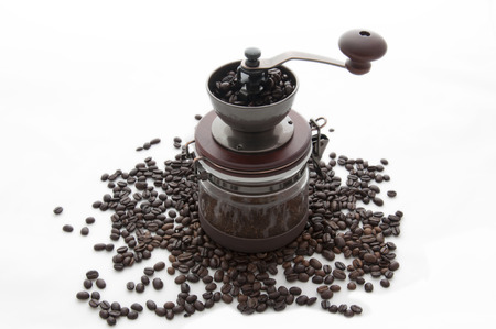 Classic Coffee grinder with coffee beans photo