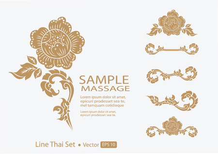 thai style: THAI collection of calligraphic design elements and page decoration Illustration