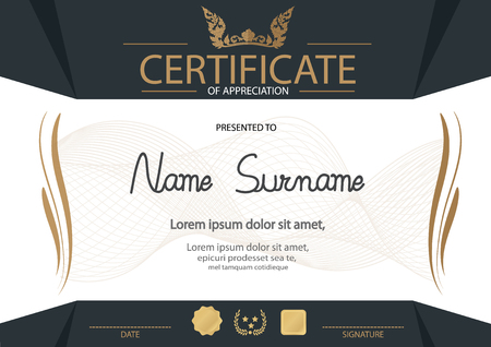 Certificate, Diploma of completion design template, background