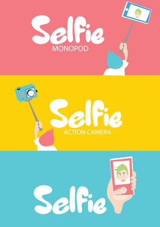 selfie: Selfie set icons - monopod, action camera and smartphone selfie