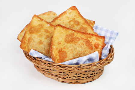 popular pastry called cake in a basket white background 스톡 콘텐츠