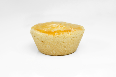 One traditional Brazilian mini chicken pie called empanada in white background