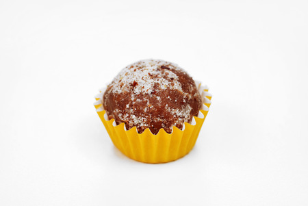 One traditional Brazilian chocolate candy called brigadeiro in hazelnut gourmet version