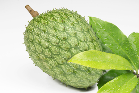 Exotic fruit Mountain soursop with leaves in white background