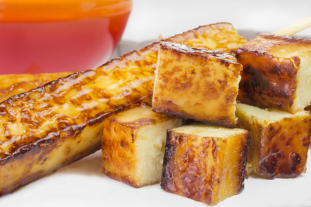 Traditional Brazilian barbecue curd cheese called curd cheese close