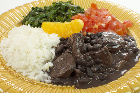 Traditional Brazilian recipe Feijoada close