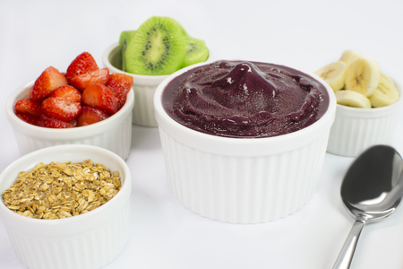 Brazilian acai and fruits in white background