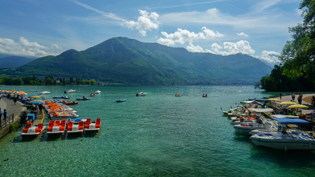 View of Annecy lake cristal and its clear waters from a bridge