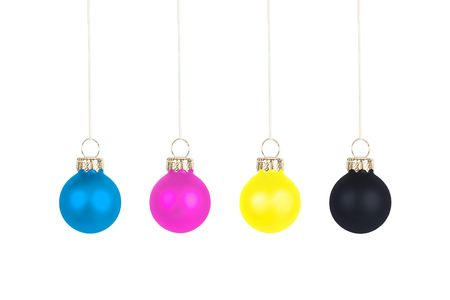 Three Christmas tree balls, CMYK color space