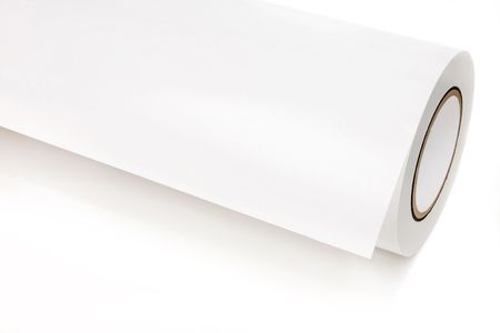plotter: A white role of printing paper, isolated on white background
