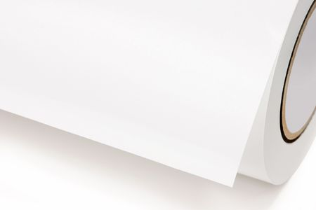 plotter: Close-up of a white role of printing paper, isolated on white background