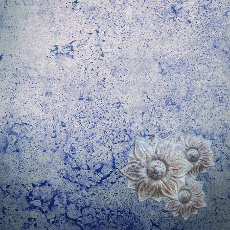 flatly: Grunge Background in blue shades of color with blossom ornaments Stock Photo