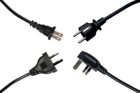 Four black power plugs, isolated on white background