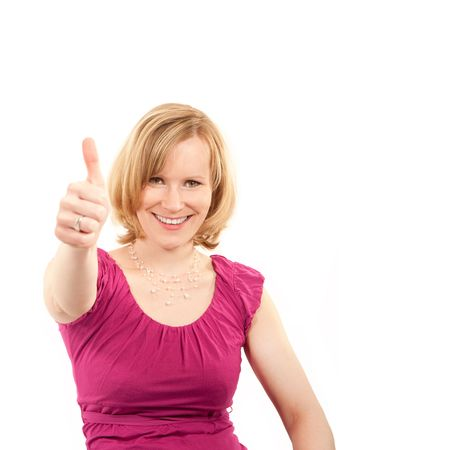Pretty young woman smiling with thumb up Stock Photo - 6844156