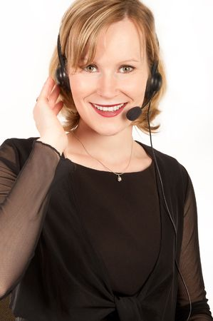 Pretty young woman with a headset photo