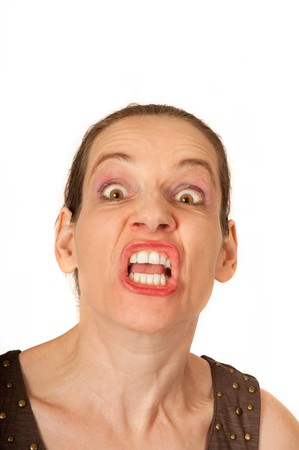 Woman with crazy expression and wide open mouth Standard-Bild