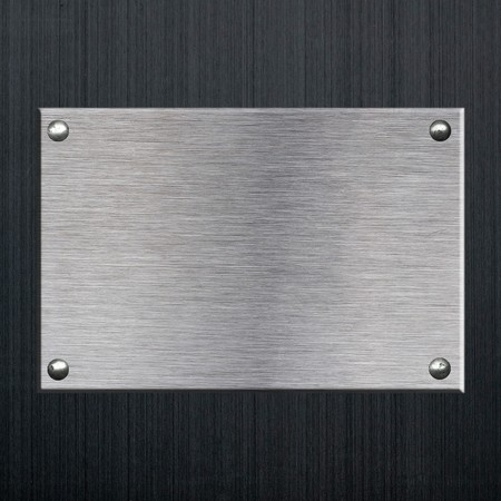 Metal Plate background from brushed silver aluminum on black brushed aluminum
