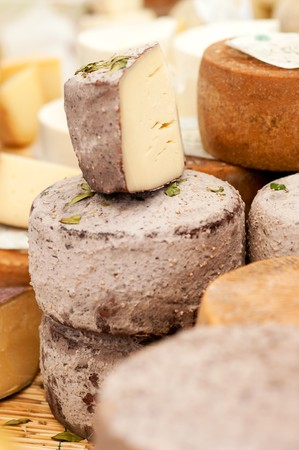 Different sorts of Italian cheese at a market