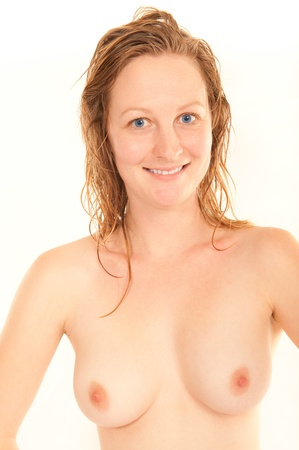 Portrait of a sexy young woman with wet hair in front of white background Stock Photo - 8324929
