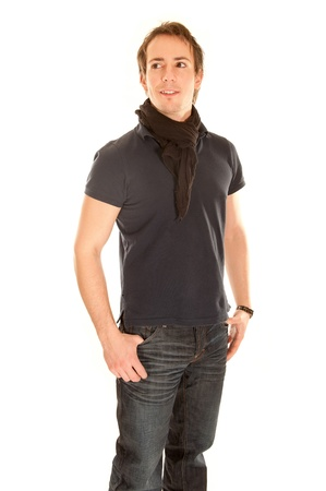 Young man in casual clothing in front of white background 版權商用圖片 - 8706372