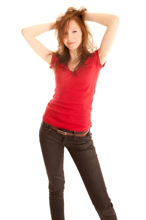 Portrait of beautiful young woman in jeans and red top , isolated on white Stock Photo - 9081088