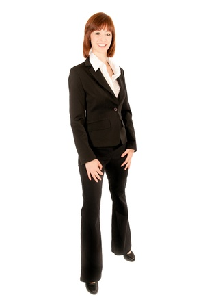 Full length portrait of a beautiful business woman, isolated on white