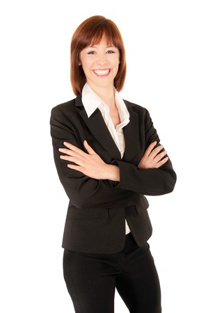 Portrait of a beautiful business woman, isolated on white Standard-Bild