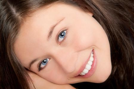 innocent girl: Sensual closeup portrait of beautiful young woman