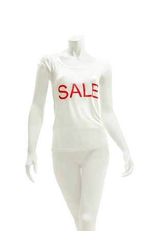 Display dummy wearing white shirt with red imprint sale, isolated on white photo