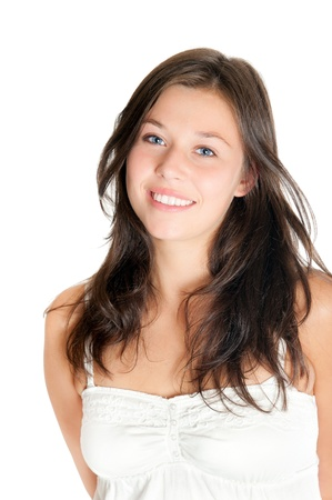 Closeup portrait of a beautiful young woman wearing a white top, isolated on white
