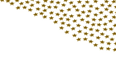 Closeup of many golden stars on white background photo