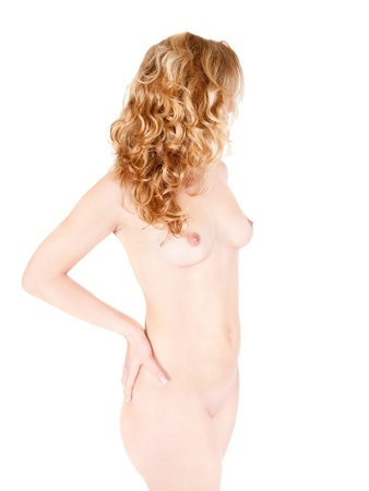 Body of a beautiful nude woman with long blond hair, closeup isolated on white background Stock Photo - 12235964