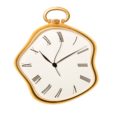 Melting golden pocket watch isolated on white background. Concept of time, past or deadline  Imagens